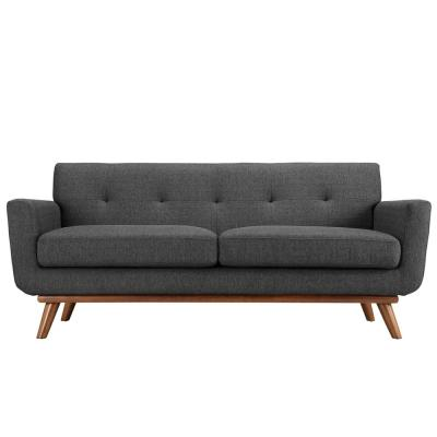 Engage 78 in. Gray Polyester 2-Seater Loveseat with Wood Legs
