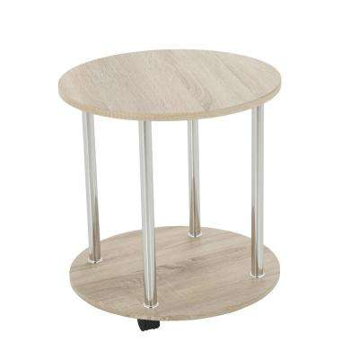 Washed Oak and Chrome 2-Tier Round Wheeled Side Table/Lamp Table/End Table/Occasional Table