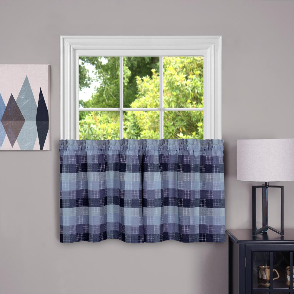 Harvard Blue Polyester Window Tier - 57 in. W x 24