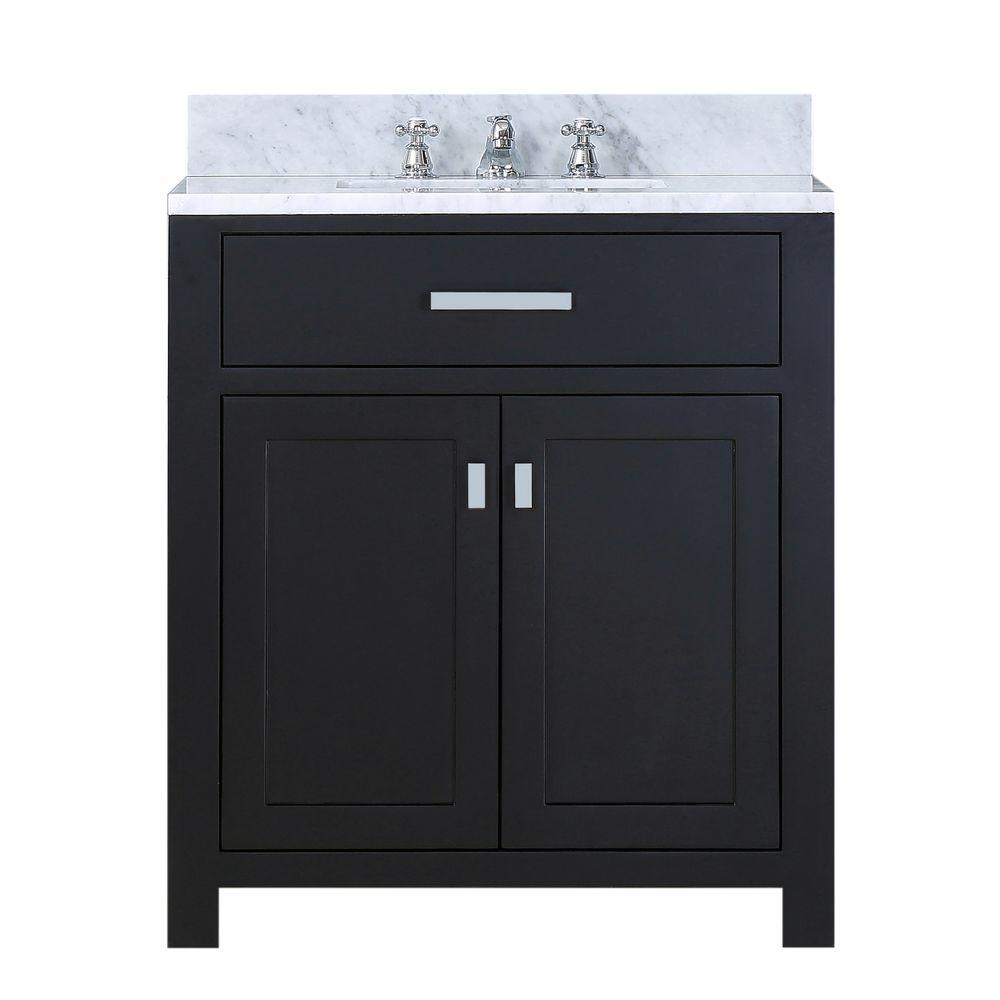 Water Creation 30 in. W x 21 in. D Vanity in Espresso with Marble Vanity Top in Carrara White and Chrome Faucet