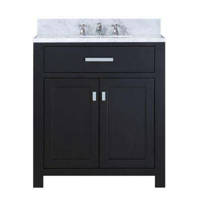30 in. W x 21 in. D Vanity in Espresso with Marble Vanity Top in Carrara White and Chrome Faucet