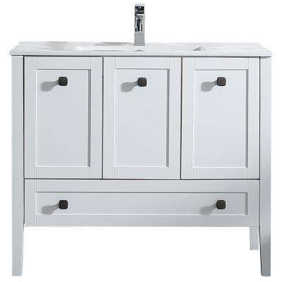 Andora 40 in. W x 18 in. D Bath Vanity in Matte White with Ceramic Vanity Top in White with White Basin