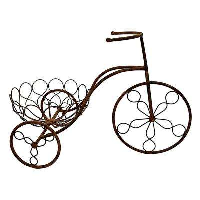22 in. x 11.5 in. Metal Bicycle Planter in Brown