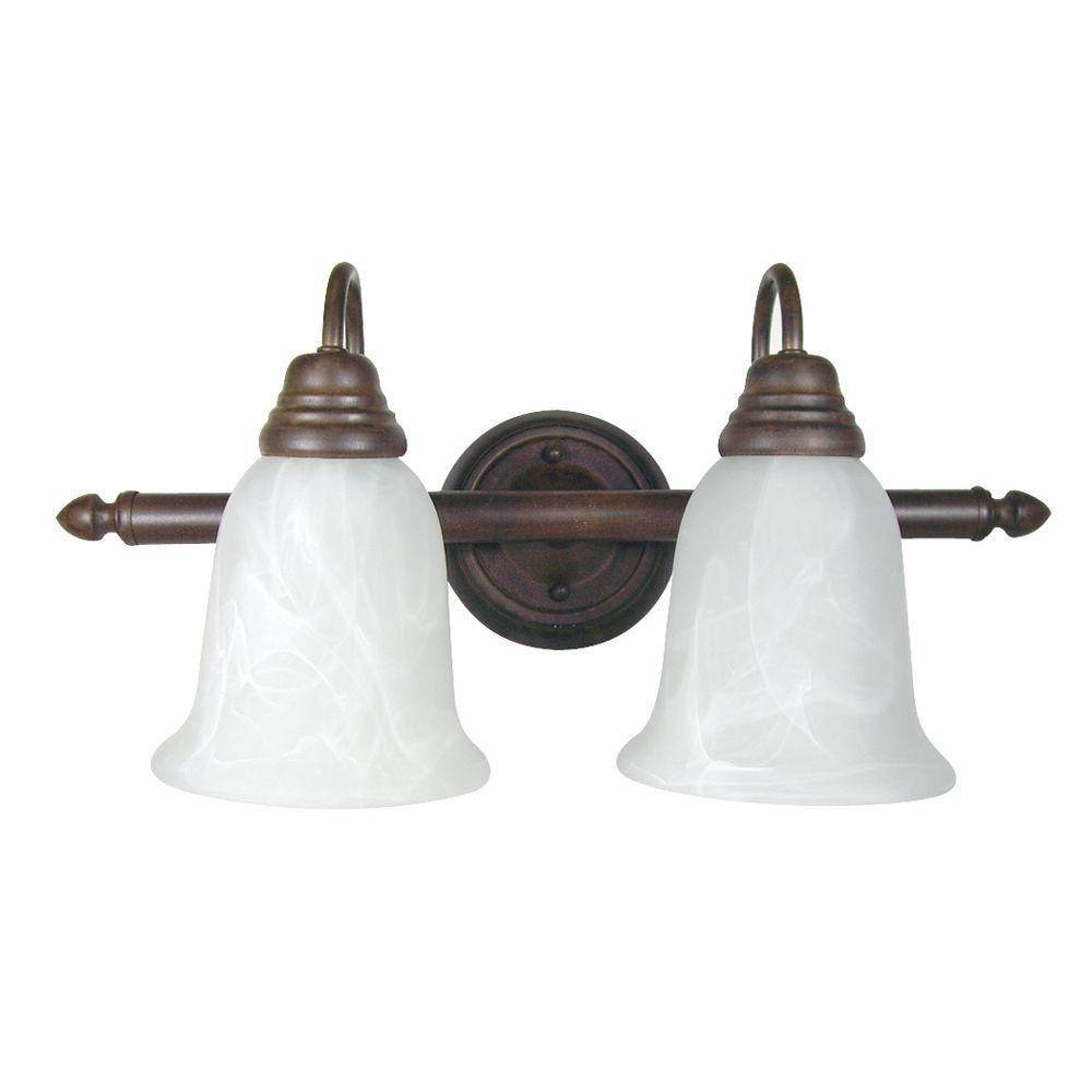 Yosemite Home Decor Vanity Lighting Series 2-Light Dark Brown Bathroom Vanity Light with White Marble Glass Shade