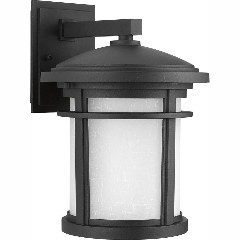 Progress Lighting Wish Collection 1-Light 12.5 in. Outdoor Textured Black LED Wall Lantern Sconce