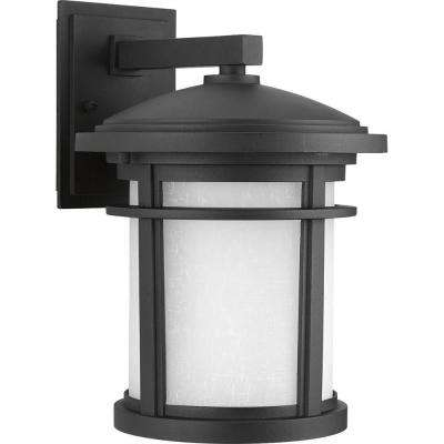 Wish Collection 1-Light 12.5 in. Outdoor Textured Black LED Wall Lantern Sconce