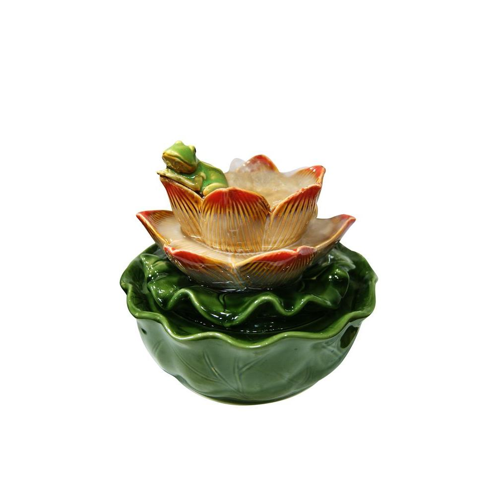 Alpine Ceramic Frog On Flower Tabletop Fountain
