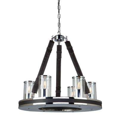 6-Light Chrome and Leather Chandelier