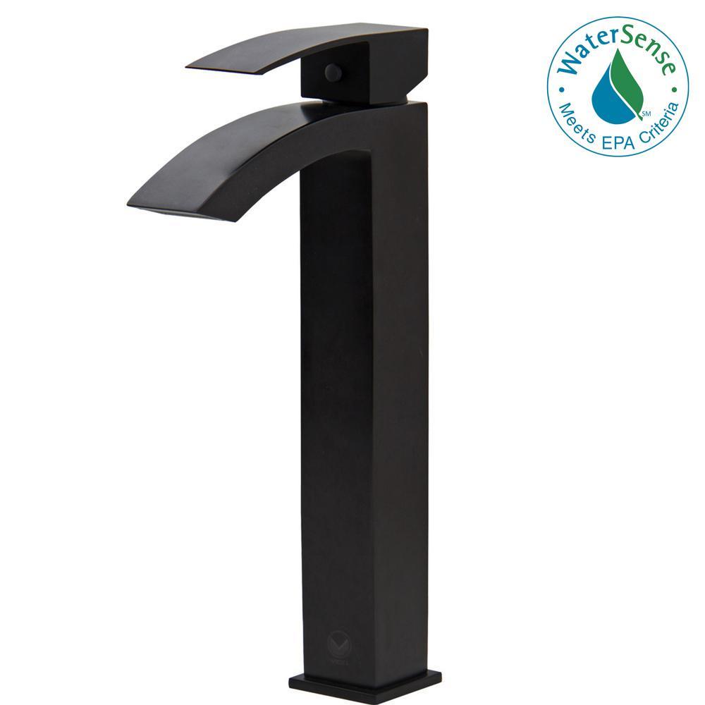 VIGO Single Hole Single-Handle Vessel Bathroom Faucet in Matte Black