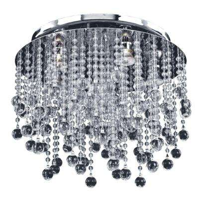 Crystal Rain 5-Light Smooth Crystal and Chrome Frame Flush Mount