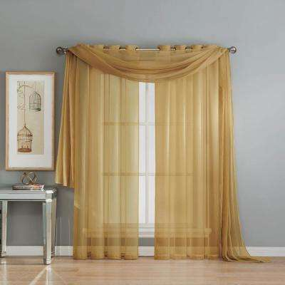 Solid Voile Sheer 216 in. L Polyester Curtain Scarf in Gold