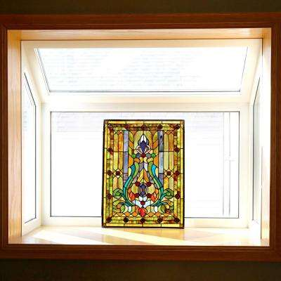Multi Stained Glass Fleur de Lis Window Panel