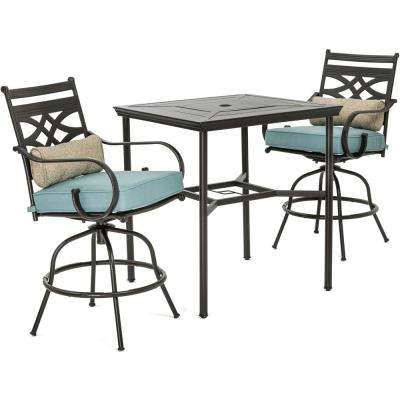 Montclair 3-Piece Metal Outdoor Bar Height Dining Set with Ocean Blue Cushions, Swivel Rockers and Table
