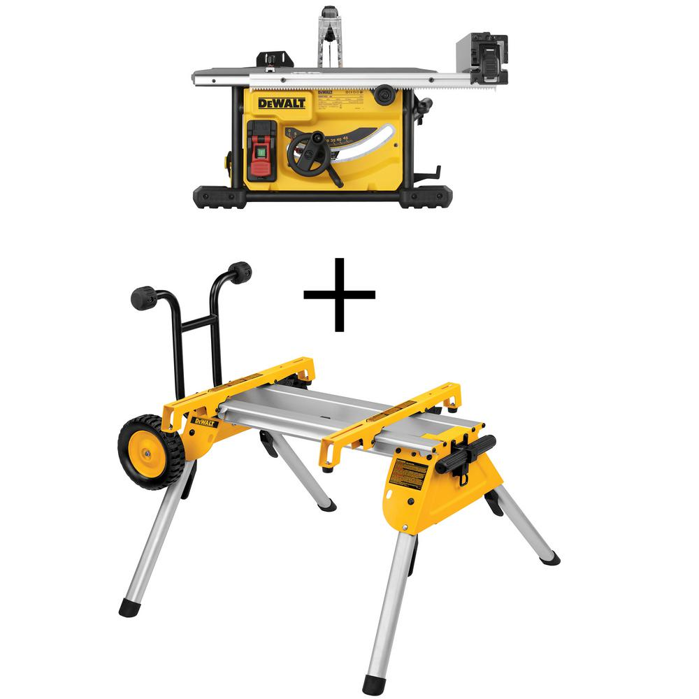DEWALT 8-1/4 in. Compact Jobsite Tablesaw with Bonus Heavy-Duty Rolling Table Saw Stand