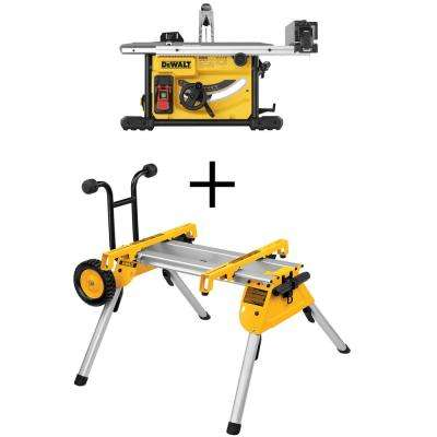 15 Amp Corded 8-1/4 in. Compact Jobsite Tablesaw with Bonus Heavy-Duty Rolling Table Saw Stand