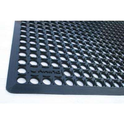 Comfort Tract 36 in. x 60 in. Black Commercial Molded Virgin Rubber Drain-Thru Garage Workstation Matting