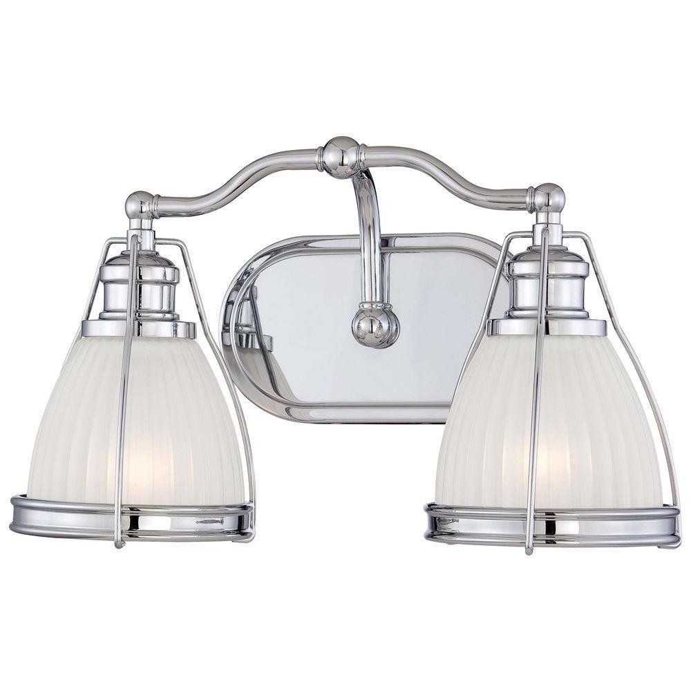 2-Light Chrome Bathroom Vanity Light