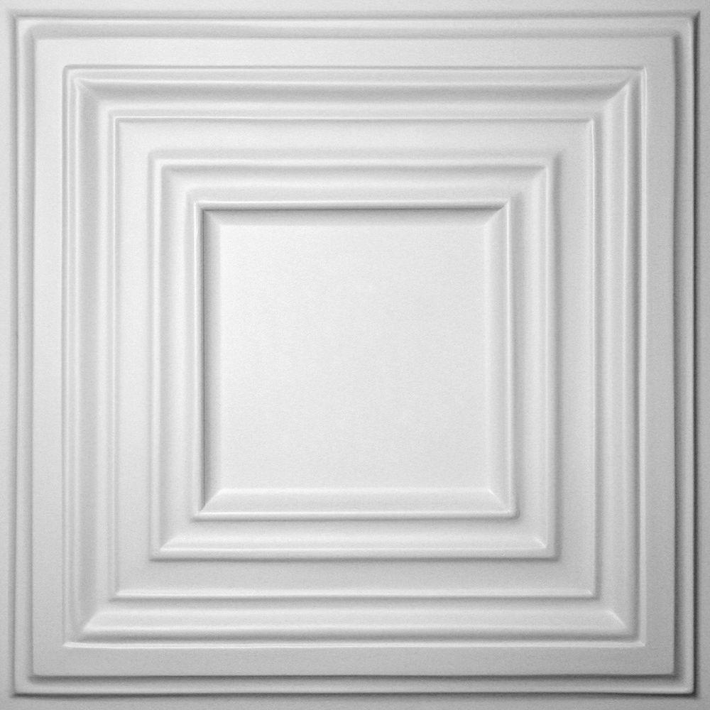 Ceilume Bistro White 2 Ft X 2 Ft Lay In Or Glue Up Ceiling Panel