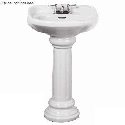 Victoria 26 in. Pedestal Combo Bathroom Sink for 4 in. Centerset in White