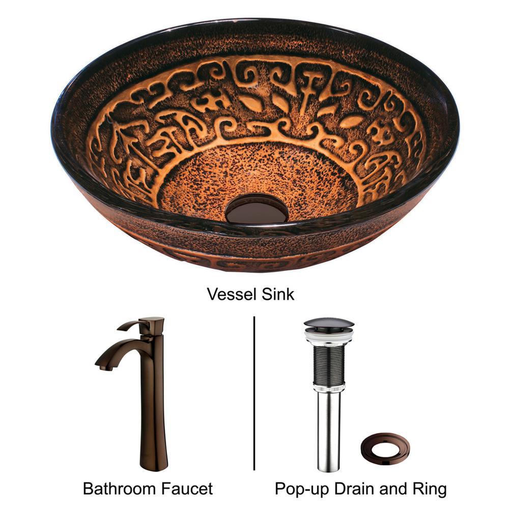 Golden Greek Glass Vessel Bathroom Sink in Bronze with Faucet in Bronze