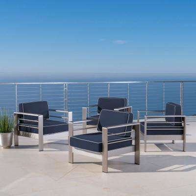 Cape Coral Silver Armed Metal Outdoor Lounge Chairs with Canvas Navy Sunbrella Cushions (4-Pack)