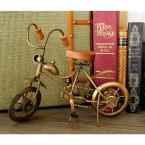 11 in. x 8 in. Oak Brown Mango Wood and Tarnished Bronze Iron Vintage Off-Road Bicycle Model Decors (Set of 2)