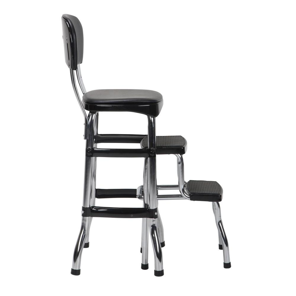 Surprising Cosco 2 Step 3 Ft Aluminum Retro Step Stool With 225 Lb Load Capacity In Black Machost Co Dining Chair Design Ideas Machostcouk