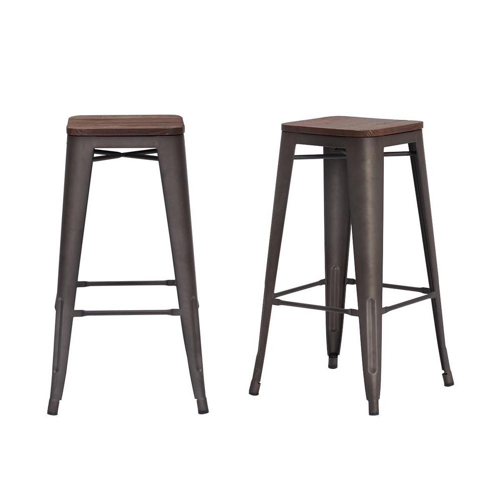 StyleWell Finwick Matte Gunmetal Gray Metal Backless Bar Stool with Wood Seat (Set of 2) (16.93 in. W x 29.53 in. H), Brown/Matte Gunmetal Gray was $129.0 now $77.4 (40.0% off)