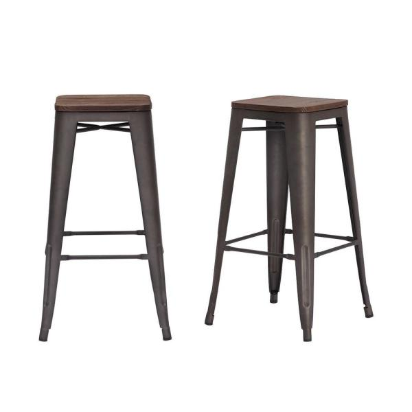 Finwick Matte Gunmetal Gray Metal Backless Bar Stool with Wood Seat (Set of 2) (16.93 in. W x 29.53 in. H)