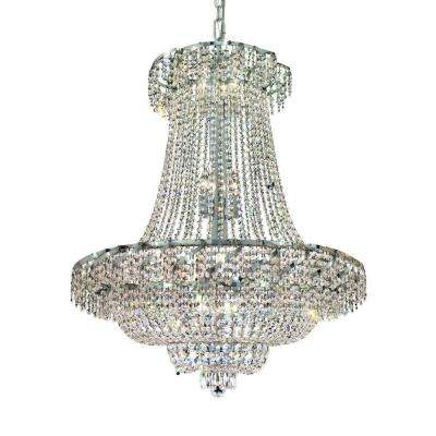 18-Light Chrome Chandelier with Clear Crystal