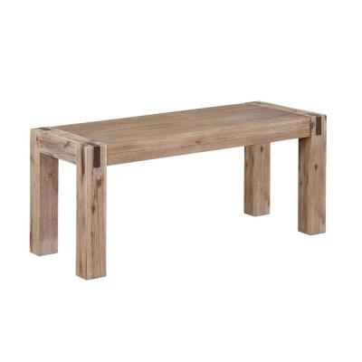 Woodstock Brushed Driftwood 40 in. Acacia Wood with Metal Inset Bench