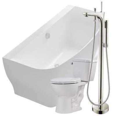 Bank 64.9 in. Acrylic Flatbottom Non-Whirlpool Bathtub in White with Kase Faucet and Cavalier 1.28 GPF Toilet