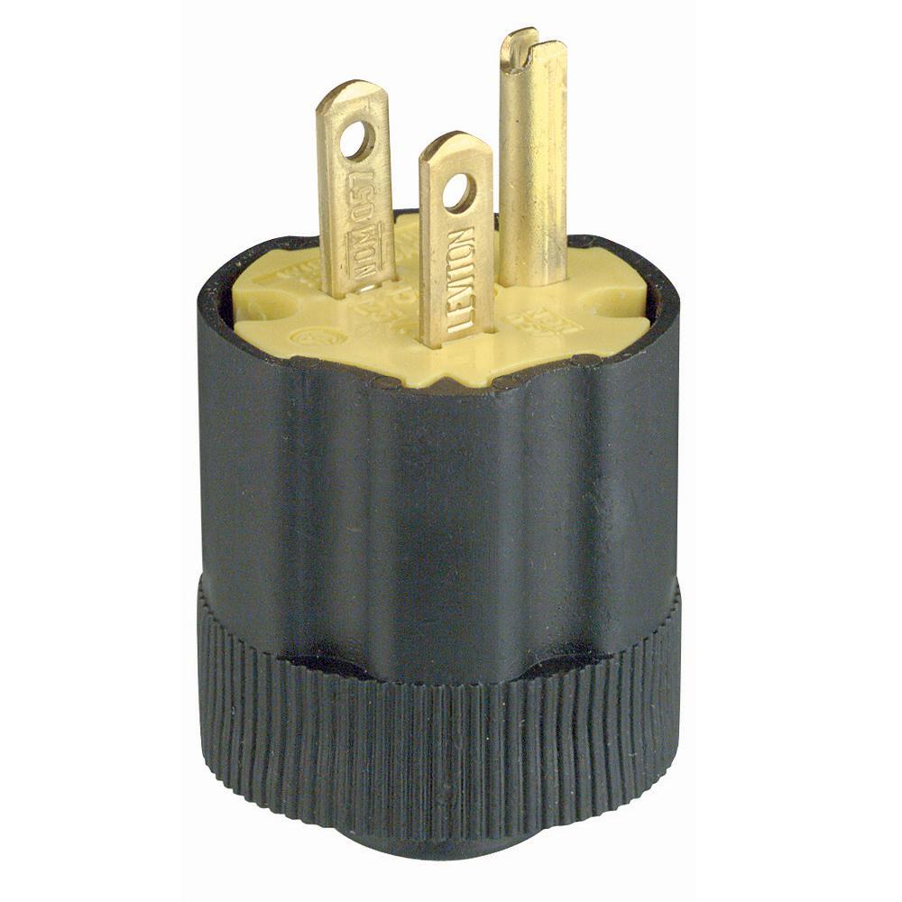 Leviton 3-Wire Rubber Plug, Black/Yellow-113 - The Home Depot