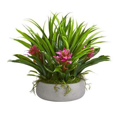 Indoor 16 in. Bromeliad and Grass Artificial Plant in Ceramic Vase