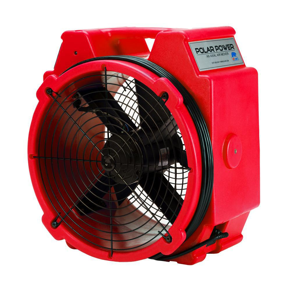 B-Air PB-25 1/4 HP Polar Axial High Velocity Air Mover Blower Fan for Water Damage Restoration in Red
