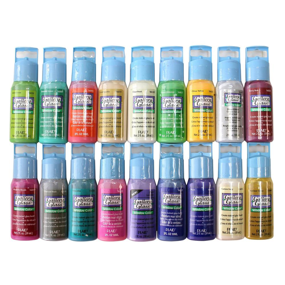 Gallery glass 2 oz window color acrylic paint set best for Can i paint glass with acrylic paint