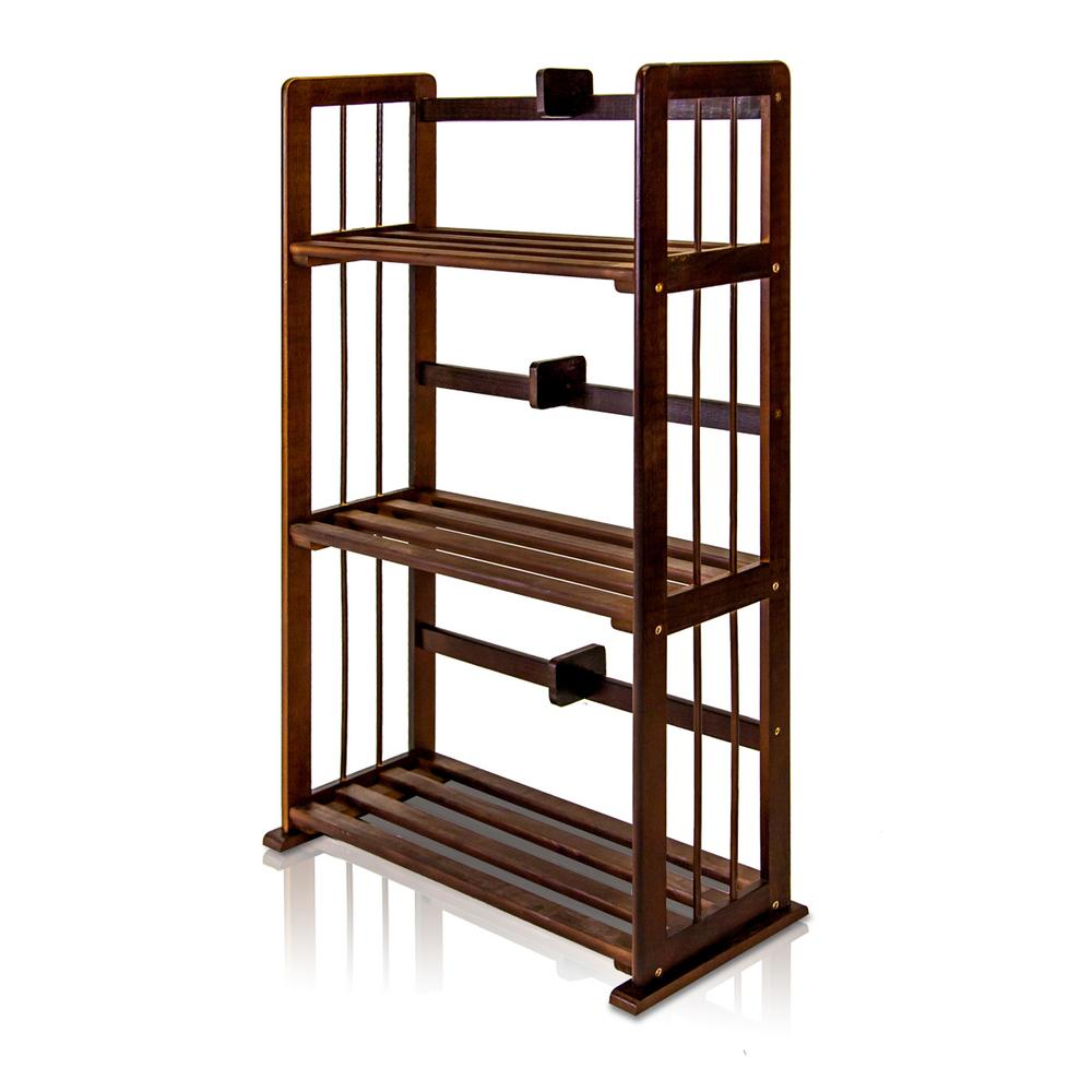 Pine Espresso Color 3-Shelf Solid Wood Open Bookcase