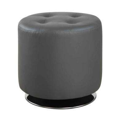 Round Upholstered Ottoman Grey