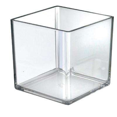 7 in. W x 7 in. D x 7 in. H Crystal Styrene Square Display Bin (4-Pack)