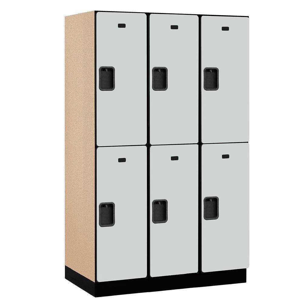 Salsbury Industries 22000 Series 2-Tier Wood Extra Wide Designer Locker in Gray - 15 in. W x 76 in. H x 21 in. D (Set of 3)