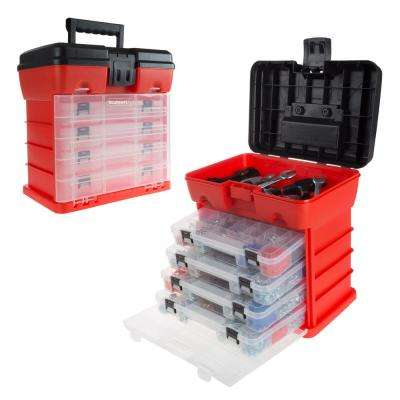 5-Compartment Small Parts Organizer, Red