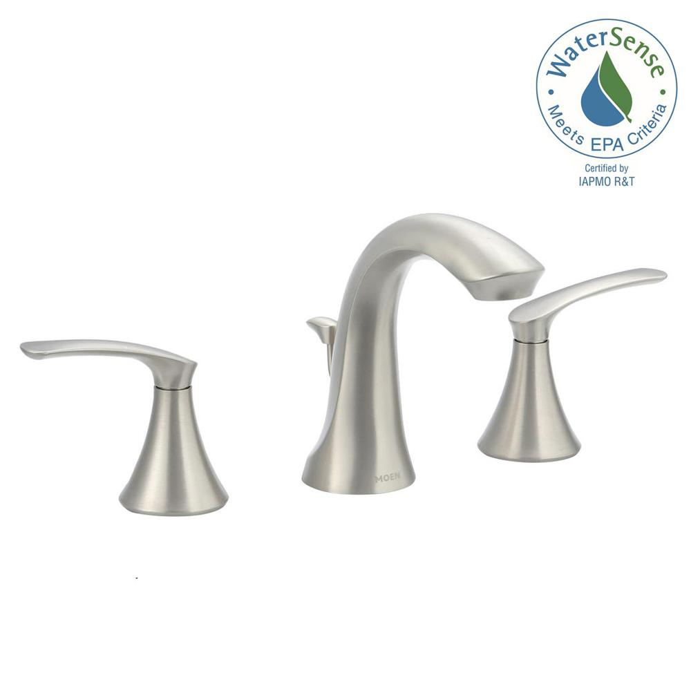 Widespread 2 Handle High Arc Bathroom Faucet in Spot Resist. MOEN   Bathroom Sink Faucets   Bathroom Faucets   The Home Depot