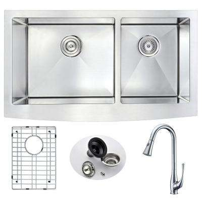 ELYSIAN Farmhouse Stainless Steel 33 in. Double Bowl Kitchen Sink and Faucet Set with Singer Faucet in Brushed Satin