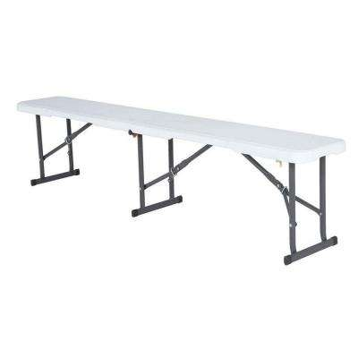 White Outdoor 6 ft. Fold-in-Half Folding Bench.