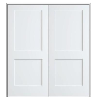 Shaker Flat Panel 48 in. x 80 in. Both Active Solid Core Primed HDF Double Pre-Hung French Door with 4-9/16 in. Jamb