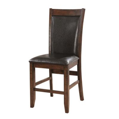 Morris Brown Cherry Leather Cushioned Counter Height Dining Chair (Set of 2)