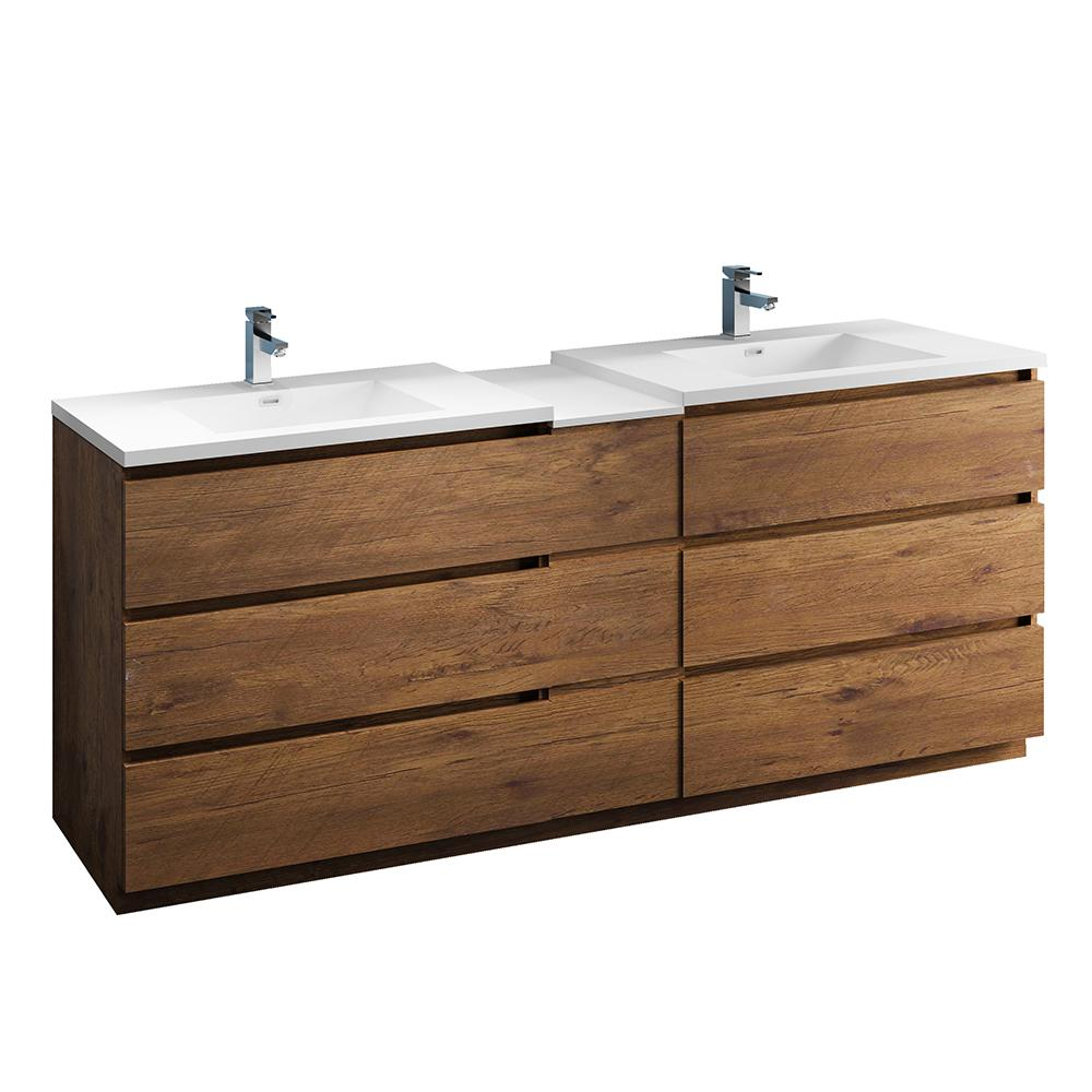 . Fresca Lazzaro 84 in  Modern Double Bathroom Vanity in Rosewood with Vanity  Top in White with White Basins