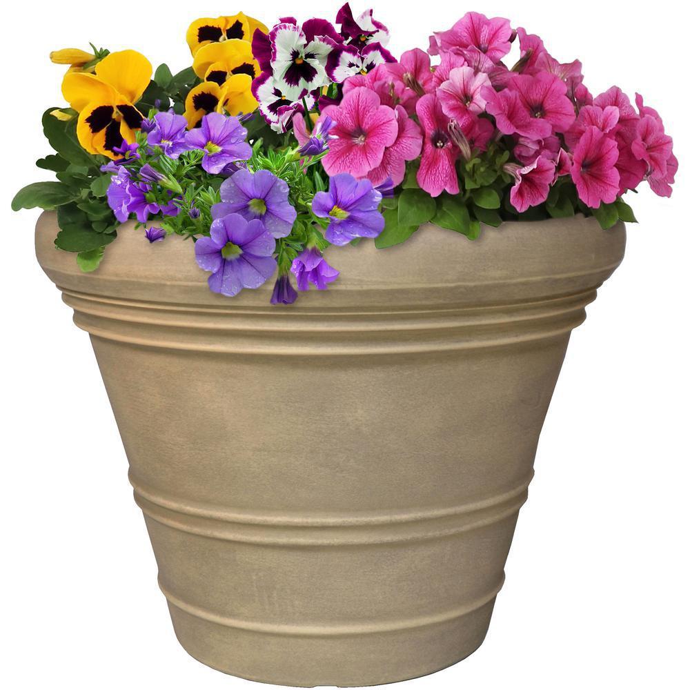18 in. Grey Single Prescott Resin Outdoor Flower Pot Planter