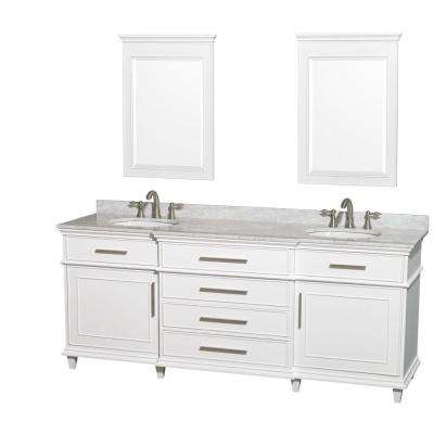 Berkeley 80 in. Double Vanity in White with Marble Vanity Top in Carrara White, Oval Sink and 24 in. Mirrors