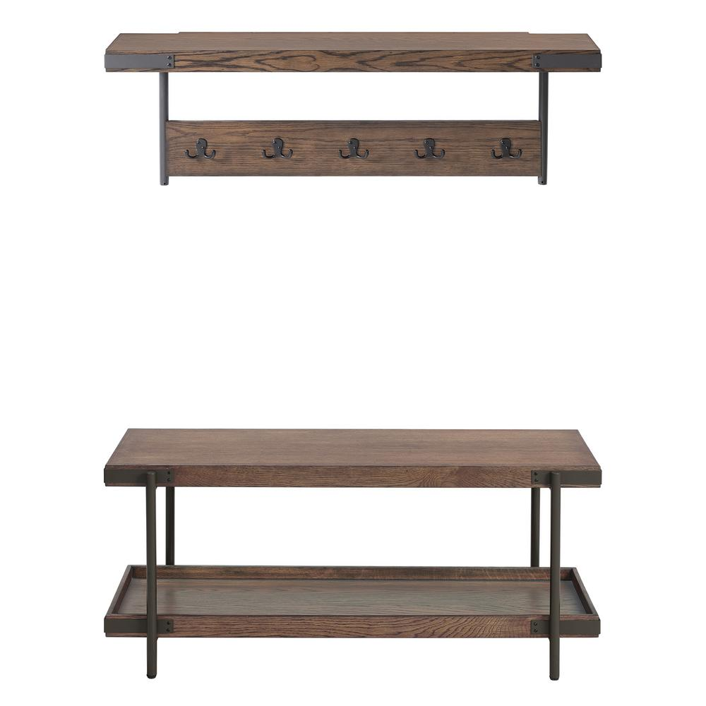Kyra 42 in. L Oak and Metal Coat Hook with Shelf and Bench Set